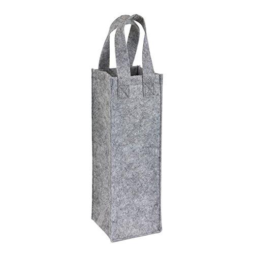 Tops Flaschentasche Grau Filz Look Größe 29,5 x 10,5 x 10,5 cm