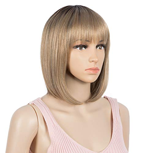 "Style Icon Wig 12"" Bob Synthetic Wig Ombre Blonde Short Straight Quality Wigs For Women Natural Looking Dark Roots Heat Resistant Fiber (12 Inches, TT6/23C)"