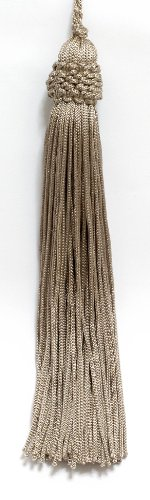 Set of 10 Beige Crown Head Chainette Tassel, 14cm Long with 25mm Loop, Basic Trim Collection Style# CT055 Color: Grain - A5