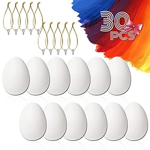 ETHEL Uova di Pasqua Decorate, 30 Pezzi Uova di Pasqua di Plastica con Cordino Ornamenti di Uova di Pasqua Decorazione Pasquale, per Fai da Te Decorazione per la Casa Regali e Altro (Bianca)