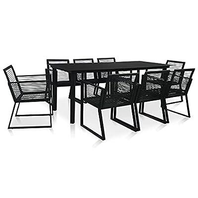 Keyur Patio Furniture Set, Outdoor Sectional Sofa Set 9 Piece Outdoor Dining Set PVC Rattan Black
