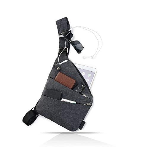 ショルダーバッグ メンズ 斜めがけ ボディバッグ メンズ 小型 ワンショルダーバッグ メンズ ビジネス 旅行 大容量 超軽量 薄型 服の下 多機能 撥水加工 盗難防止 (グレー 右利き)