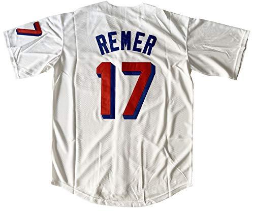 Mens Baseketball Beers Jersey 44 Joe Cooper 17 Doug Remer Stitched Baseball Jersey (17 White, Large)