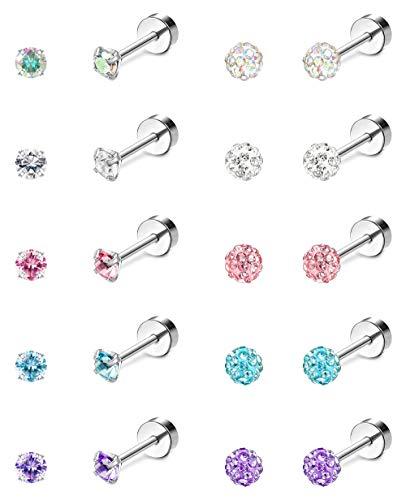 Jstyle 10Pairs 18G Ear Stud Earrings for Women Stainless Steel Cubic Zirconia Earrings Tragus Cartilage Piercing Barbell Screwback Earrings Set 3MM