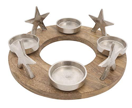 CB Home & Style Adventskranz Kerzenhalter Aluminium Mangoholz Silber Metall Durchmesser 30 cm Weihnachten