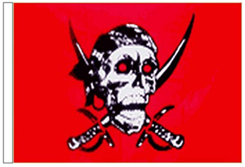 FlagSuperstore© Red Skull Bootsflagge 45 x 30 cm – Baumhäuser, Wohnwagen – Ärmel 45 x 30 cm – Pirat