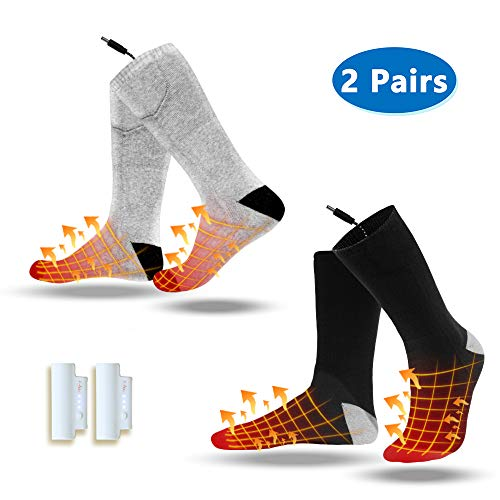 Heated Socks, 2 Pairs Electric Socks Footwear with Pair Rechargeable Lithium Battery Cotton Heated Socks Keep Forefoot and Toes Warm Heating Times Last 5-9 Hours Suitable for Winter Outdoor Hunting