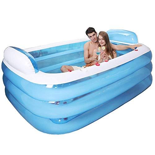 Aufblasbare Badewanne Kunststoff Tragbare Faltbare Swim Pool Badewanne Home Spa-Bad Ausrüsten Mit Elektrischer Luftpumpe, 160x120x60cm, Blau
