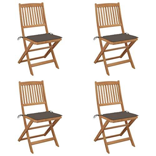 vidaXL 4X Akazienholz Massiv Gartenstuhl Klappbar mit Kissen ohne Armlehnen Klappstuhl Stühle Stuhl Gartenstühle Holzstuhl Essstuhl Gartenmöbel