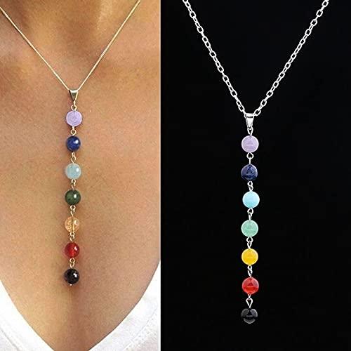 XIAOLONG 7 Cuentas de Chakra Reiki, Colgante de encantos de Piedras Preciosas curativas, Collar de Equilibrio de Yoga, lapislázuli/Turquesa/Amatista/Jade