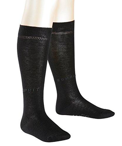 ESPRIT Kinder Kniestrümpfe Foot Logo 2-Pack - Baumwollmischung, 2 Paar, Schwarz (Black 3000), Größe: 31-34