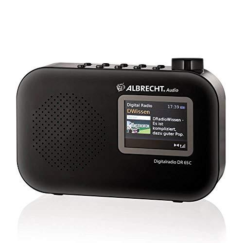 Albrecht DR65C tragbares Digital-Radio, 27361, DAB+/UKW-Empfang mit Kopfhörer-Anschluss, Batterie- und Netzbetrieb Farbe: schwarz