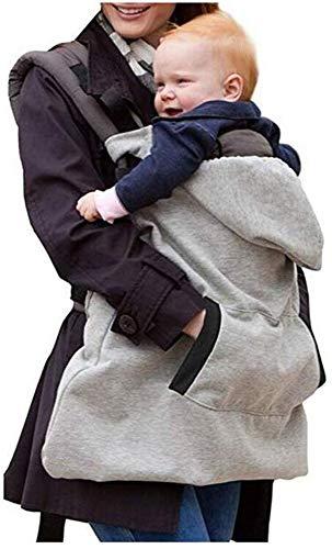 El portador de bebé de la cubierta a prueba de viento cálido manto, gris del bebé de la honda del mantón ajustable, suave y cómodo terciopelo, grueso honda del bebé Capa lsmaa