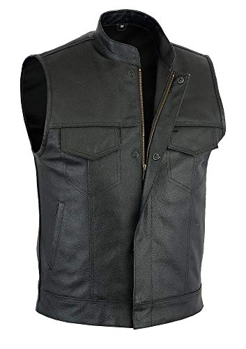 SOA Men Sons of Anarchy Motorcycle Biker Club Leather Vest Concealed Carry Arms (4X-Large) Black