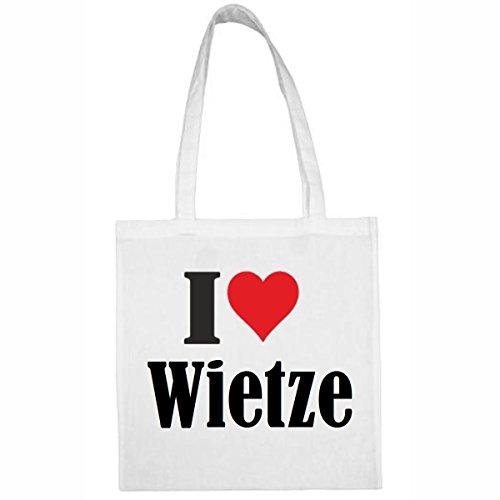 """Tasche""""I Love Wietze""""Größe""""38x42""""Farbe""""Weiss""""Druck""""Schwarz"""