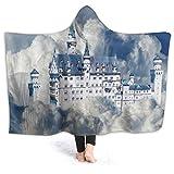 HATESAH Manta con Capucha,Alemania New Swan Stone Castle Nube Cielo Azul Paisaje de ensueño,Suave Siesta ponible Mantas de Viaje/Vacaciones/Casual 80x60