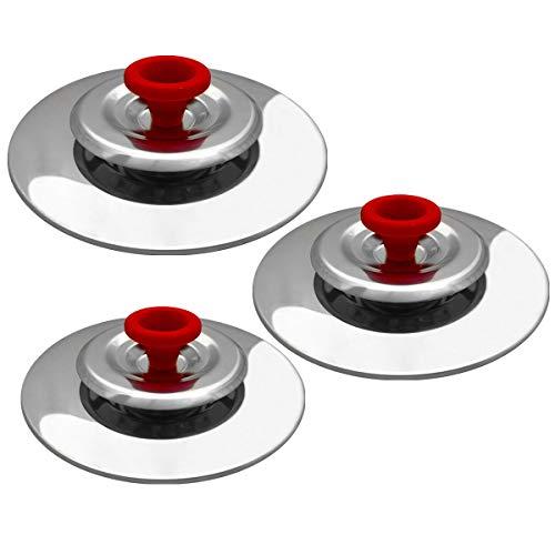 3 Coperchi Magici Antiodore Cooker Ventur Magic in Acciaio Inox 26, 30, 34 Cm Rosso