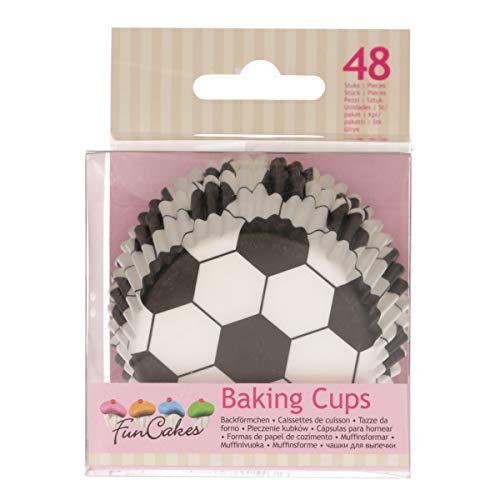 FunCakes FC4021 hochwertige Muffinförmchen/Backförmchen-Fußball-mit fettdichter Beschichtung-perfekt für Cupcakes, Muffins oder Brownies-48 Stück, Papier