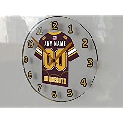 FanPlastic Big Ten College Football - Personalized Wall Clocks - Size 12 X 12 X 2 - Any Name, Any Number, Any Team !!! (Minnesota)