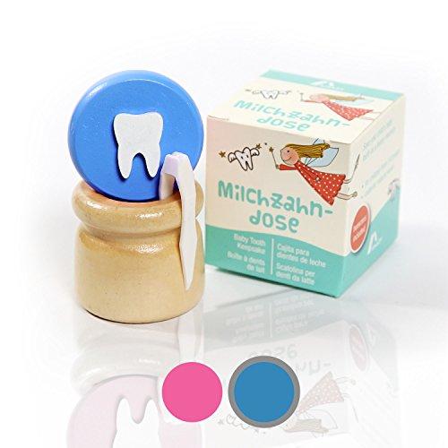 Amazy Milchzahndose inkl. Pinzette und Zahnfee Brief – Niedliche Zahndose aus Holz mit Schraubverschluss zur Aufbewahrung der Milchzähne und Zahnfeebrief für den ersten Wackelzahn (Klein   Blau)