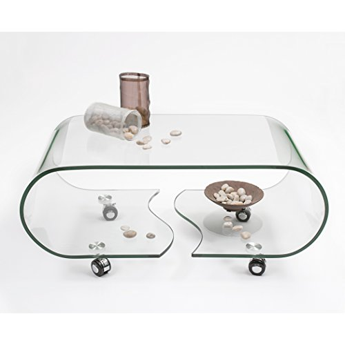 Homely Mesa de Centro con Ruedas y Cristal Curvado de una Pieza Coffee 90x50 cm (Transparente)