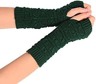Aubby Cashmere Feel Fingerless Gloves with Thumb Hole Warm Gloves for Women and Men