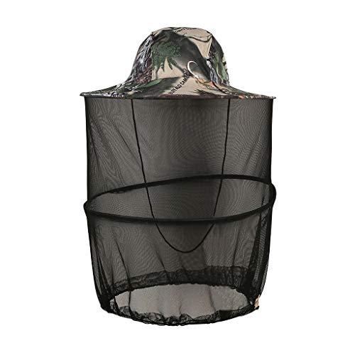 Outdoor Angelhut Fischerhüte für Herren Damen, Hut Faltbar Wanderhut Gartenhut, Klassische Buschhüte, UV Schutz Sonnenhüte, Anti-Moskito-Hut mit Verstecktem Netz von Insekten (D)