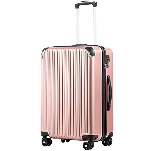 [クールライフ] COOLIFE スーツケース キャリーバッグダブルキャスター 二年 機内持込 ファスナー式 人気色 超軽量 TSAローク (ローズゴールド, M サイズ(24in))