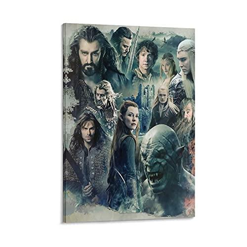 DRAGON VINES Póster de la película The Hobbit La batalla de los cinco ejércitos Creación artística de la película Impresión en lienzo para sala de estar, 60 x 90 cm