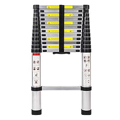 Cartey 12.5ft 3.8m Telescopic Extension Step Ladder/one Button Telescoping Ladder Aluminum Alloy Folding Multi Purpose (Step Ladder)