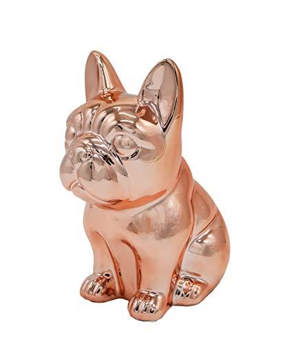 Ceramic Dog Statue - Sitting French Bulldog (Metallic Rose Gold)