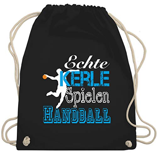 Shirtracer Handball - Echte Kerle Spielen Handball weiß - Unisize - Schwarz - handball echte kerle spielen handball turnbeutel - WM110 - Turnbeutel und Stoffbeutel aus Baumwolle