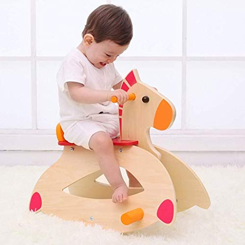 YINUO Ride-ons Mamas & Papas Rocking Animal Baby Rocking Chair Baby Solid Wood Rocking Horse Large Thickening Children's Toys Age Gift Small Wooden Horse Car