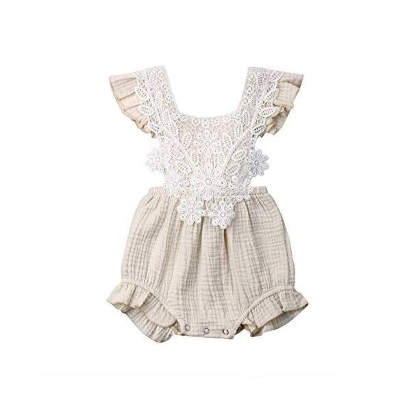 Cute Infant Newborn Baby Girl Lace Ruffle Romper Jumpsuit Bodysuit Summer Outfit Clothes