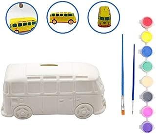 LUCUNSTAR DIY Oil Painting Piggy Bank Car Paint Your Own Money Bank for Kids
