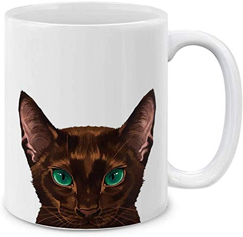 YeeATZ Lynx Point - Taza de café de cerámica, diseño de gato siamés, color lila