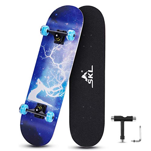 SKL Skateboard 31quot x 8quot Complete Skateboard with Colorful LED Light Up Wheels for Kids Boys Girls Youths Beginners Adults 9 Layers Canadian Maple Wood Deck Standard Skate Boards Deer