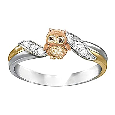 Mebamook Fashion Rings for Women Silver Round Bridal Ring Jewelry Diamond Ring Gifts Engagement Wedding Anniversary Ring,Owl 5
