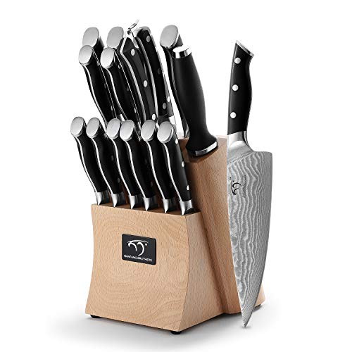 Kitchen Damascus Knife Set, 15-Piece Kitchen Knife Set with Block, ABS Ergonomic Handle for Chef Knife Set and Serrated Steak Knives Knife Sharpener and Kitchen Shears, Beechwood Block