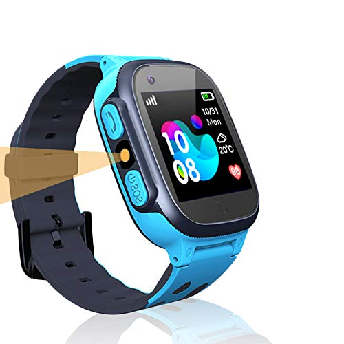 LDB Direct Kids Smart Watch Phone Watches Compatible with Android and iOS, Smartwatch with SOS Call Touch Screen Voice Chat Flashlight for Kids 3-12 Year Old (Blue)