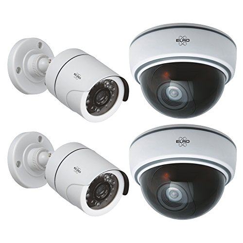ELRO CD2215-4 Dummy Kamera Set 2X CDB22 Plus CDD15F, Weiß/Schwarz