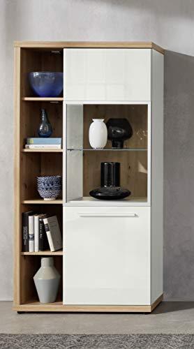 trendteam smart living Wohnzimmer Highboard Schrank Vitrine Odino, 84 x 167 x 38 cm Front Weiß Hochglanz, Korpus Asteiche mit viel Stauraum