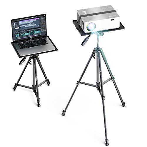 BOMAKER Beamer Ständer, Multifunktionaler Beamer Stativ Universal Kamera Staitiv Aluminum Bodenständer für Laptop Ständer Tragbarer Verstellbare Höhe von 53 cm bis 151 cm mit Platte (Medium)