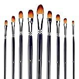 Pinceaux de peinture professionnelle Set 9pcs Filbert Astuce Nylon Cheveux Artiste Acrylique Brosse pour Acrylique Aquarelle Peinture à l'huile.