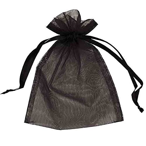 Organza Bags Wedding Favours Party Jewellery Pouches Mesh Drawstring Gift Wrap (10, Black 5cm x 7cm)
