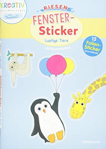 Riesen Fenster-Sticker Lustige Tiere: Mit 15 Folien-Stickern!
