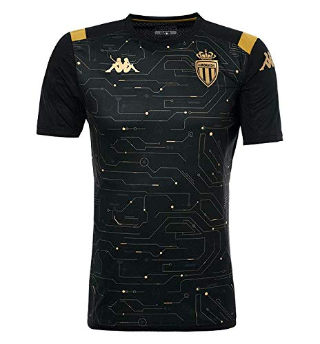 Kappa - Maglietta Aboupre 3 AS Monaco, Unisex Adulto, Nero/Oro, S