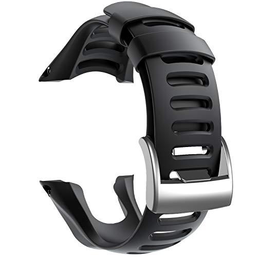 NotoCity Compatible con Correa Suunto Ambit 3, Silicona Reloj de Recambio Brazalete Correas para Suunto Ambit 3 (Hebilla de Plata, Negro)