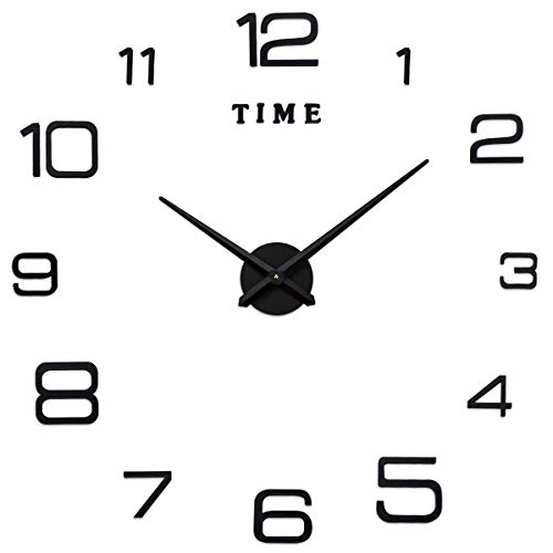 SEJU Frameless Modern Large DIY Wall Clock 3D Stickers Home office Removable Decoration (2-Year Warranty) (Black)