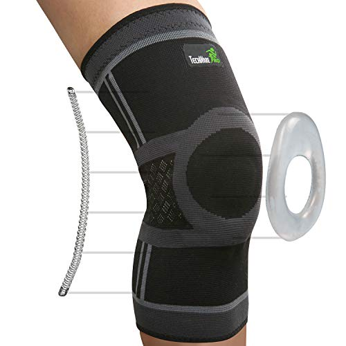 TechWare Pro Knee Compression Sleeve - Knee Brace for Men & Women with Side Stabilizers & Patella...